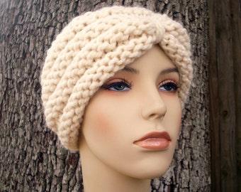 Knit Hat Cream Womens Hat - Turban Hat Beanie in Cream Knit Hat - Cream Hat Cream Beanie Cream Turban Womens Accessories Winter Hat