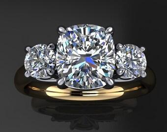 meghan ring – 1.5 carat cushion cut ZAYA moissanite engagement ring, 3 stone ring