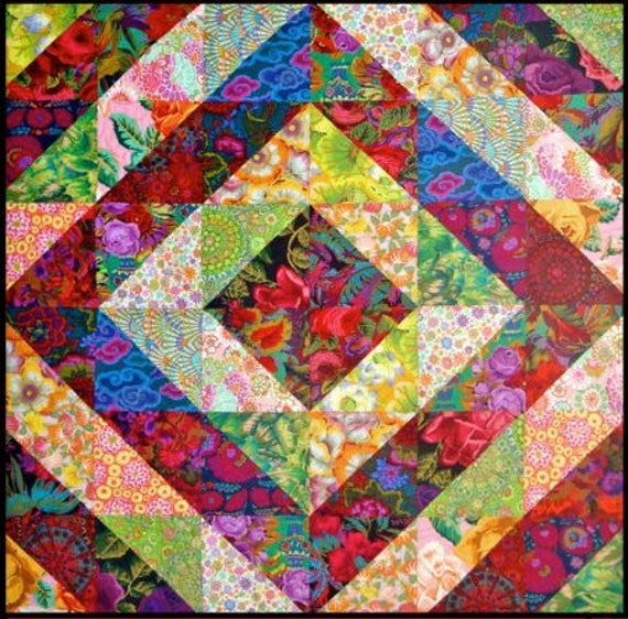 "XL  TOWER BRIDGE Quilt Kit  - 72"" x 81""  Kaffe Fassett  and Philip Jacobs fabrics"