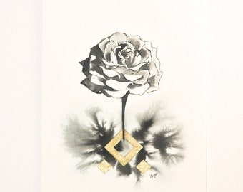 Original painting of a rose in ink and gold with diamond shapes