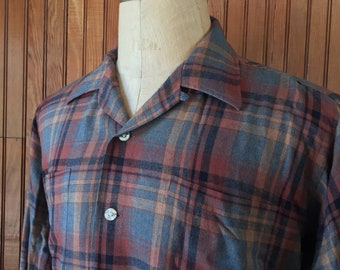 50s Hathaway Large Loop Collar Shirt Long Sleeve Rayon Acrylic Blend Plaid Brown Rockabilly Men's Vintage Dunham's of Maine