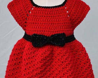 Crocheted V-stitch Holiday Dress: Size 12 to 18 months