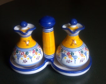 Spanish Faience Aceite (Oil) and Vinegar - 3 Piece Cruet Set - Hand Painted -