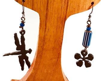 Handmade Earrings, Oxidized Iron, Dragonfly and Flower with Blue Chevron Glass Beads