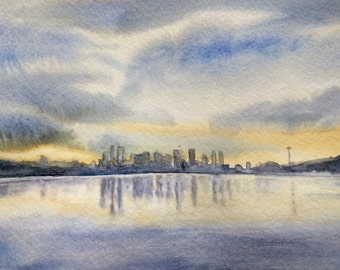 Seattle painting, Seattle Skyline, Seattle watercolor, Gas works park, Seattle art, Stormy skies, rainy Sky, Seattle Sky