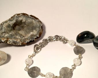 bracelet real stone grey quartz and crystal