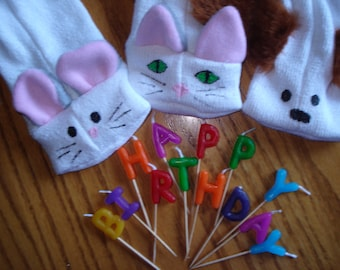 20 Puppy, Kitten, and Mouse Sock  Puppet Puppets moveable mouth