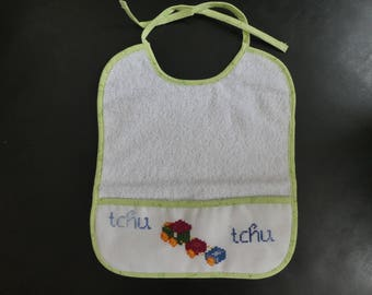 Tchu tchu cross stitch bib
