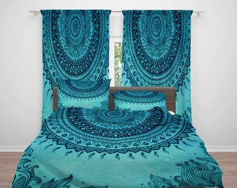 Turquoise Boho Mandala  Comforter or  Duvet Cover,Twin  Full Queen King, , Rug, Curtains, Throw Pillow