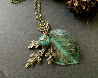 Oak Leaf Necklace Woodland Leaves Turquoise Bead Green Leaf Boho Botanical Nature Inspired Woodland Wedding Antique Brass Charm Necklace