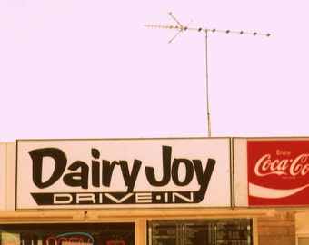 """ice cream stand, vintage sign photography, drive-in, vintage home, red, black, 6x6, from 35mm film - """"Dairy Joy Drive-In"""""""