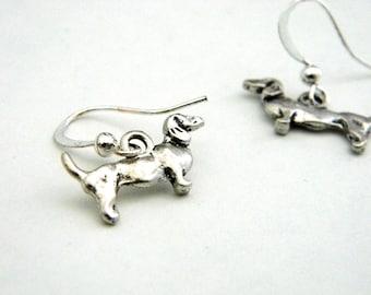 Dachshund Earrings Silver Color Dangle Earrings Dog Earrings