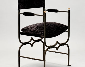 French Empire Style Iron and Brushed Velvet Chair [2866]