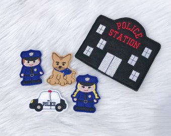 POLICE Finger Puppets w Pocket Carrier - Nursery Children Quiet Time - Felt - Customize Hair Color Uniform Color