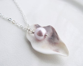 White & Purple Oyster Shell Necklace Lavender Glass Pearl - Real Chesapeake Bay Seashell Jewelry - Nautical Pendant