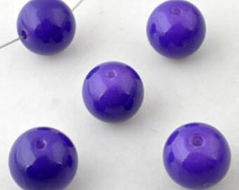 20 purple glass beads round 12mm, hole: 1.5 mm