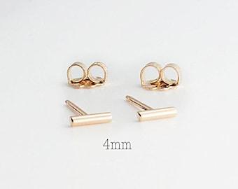 T Earrings Gold Bar Studs, Tiny Bars, Bar Studs Gold Studs, Handmade Studs, Bar Studs, Gold Stick, Everyday Earrings, 4 x 1.3mm