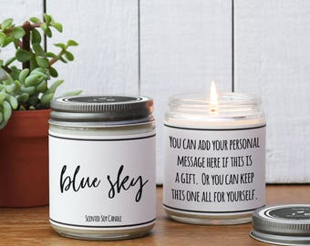 Blue Sky Scented Candle - 8 oz Candle | Candle Gift | Unique Scented Candle | Scented Soy Candle | Candle Handmade | Personalized Candle