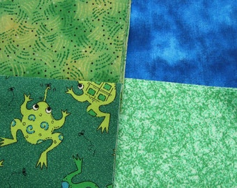 Frog Print 40 - 4inch Quilt Fabric Squares 201