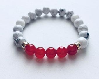 Red Jade and Howlite Bracelet