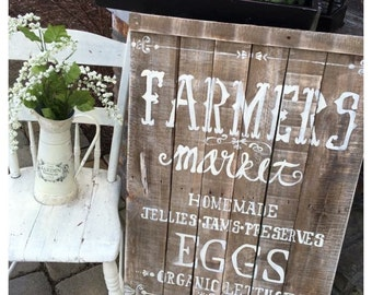 Reclaimed pallet wood Farmers Market sign/ Hand Painted