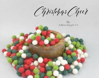 DIY Christmas Garland - Christmas Cheer Felt Ball Set - Wool Felt Balls - Felt Balls Christmas Garland - Craft Supply Balls - Wool Pom Pom