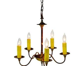 Antique Brass 5 Light Candle Chandelier Arrow Design