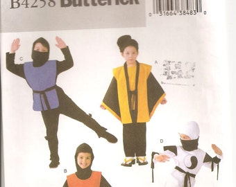 Butterick Pattern 4258 Childu0027s Ninja Costumes. Sizes 2 3 4 5. UNCUT  sc 1 st  Etsy Studio & Butterick Pattern 4256: Childrenu0027s Witch Costumes. Sizes 2 3 4 5 ...