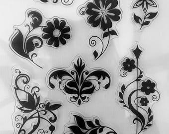 Floral Pattern, Decorative Clear Stamp Set