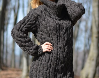 READY hand knitted wool sweater chunky warm jumper cabled Tneck pullover handmade sweater wool T-neck thick handknit sweater dress Dukyana