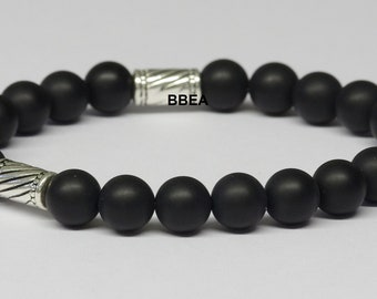 Mens bracelet Black Onyx, stone of reality, beads 8 mm and Tibetan silver separations.