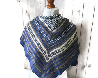 Equestrian Silk Scarf 80s Royal Blue WHite Gold Equestrian print Vintage Hand rolled Neckwear Headscarf