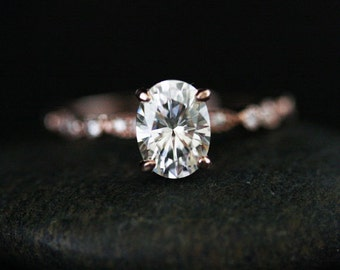Moissanite Oval Engagement Ring with 8x6mm Classic Moissanite and Diamond Milgrain Band in 14k Rose Gold