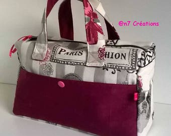 Toiletry bag with tissue beige and pink plum with handles