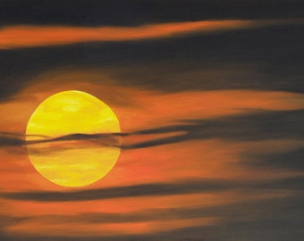 "Sunrise Oil Painting, Sunrise, Sultry, Sun, Original Oil Painting - ""Sultry Sunrise"" (18"" x 36"")"