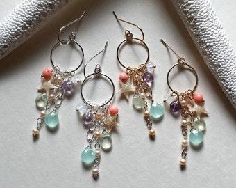 Tiny Starfish Hoops, Starfish Cluster Earrings, Real Starfish Earrings, Beach Hoop Cluster Earrings