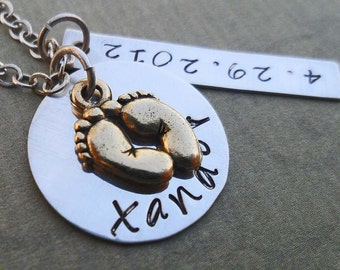 New Baby Necklace - New Mom Mother Mommy - Custom Name and Date Necklace - Silver S108
