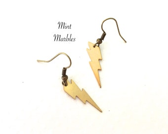 Natural Brass Small Lightning Bolt Earrings. Dangle Drop Earrings. Gold. Weather. Electric. Bolt. Under 15 Gifts. Unique.