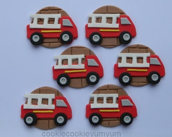 12 edible FIRE TRUCK FIREMAN cupcake topper decoration party wedding anniversary birthday cookie engagement party sam cake firemen dept