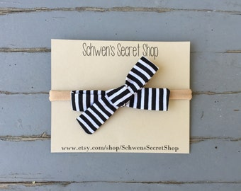 Hand tied bow, baby girl bow, fabric baby bow, baby girl headband, nylon headband, infant headband, newborn headband, school girl bow