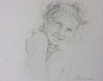 CustomPortrait of a Child , Mothers Day Gift, Drawing of a Girl , Custom Portrait of a Child, Black and White Portrait Drawing of a Child