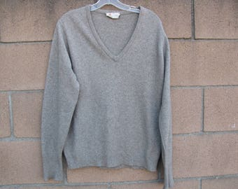 VTG Mens Byford 100% Cashmere Sweater England 40 Gray V-Neck 1970's Size 40  US M