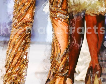 Flashy Legs: Fashion Runway, Print, Home or Office Decor, Gold Sequin, High Heels, Digital Art