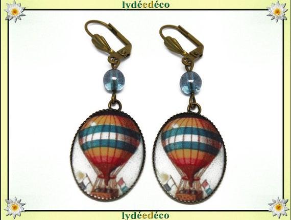 Earrings retro hot air balloon pattern turquoise blue orange white resin bronze pendants 18 x 25mm glass beads