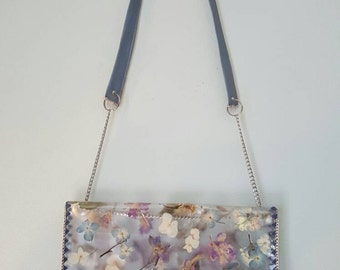 Pressed flower crossbody bag with silver chain and vinyl strap, removable lining bag included.