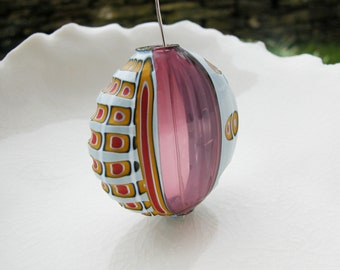Murano Blown Glass Mosaico Sculpted Bead