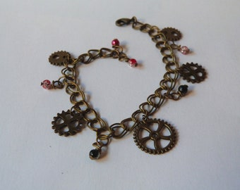 Bronze Steampunk Cogs and Gears Bracelet with Red and Black beads