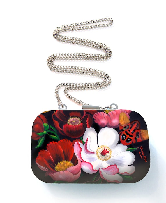 Box purse, box clutch, Glorious, flower gift, gift for her, gift for mom, Woody Ellen handbag, christmas gift, christmas gift ideas
