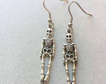 Skeleton earrings, Halloween earrings, halloween jewelry, skeleton jewelry, halloween gifts, skull earrings, silver dangle earrings