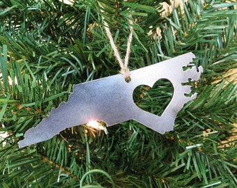 North Carolina State Christmas Ornament Raw Steel Personalize Engrave Love NC Metal Holiday Decoration Stocking Stuffer House Warming Gift